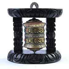 Small 2 Line Om Mantra Tibetan Buddhist Black Wall Mounted Prayer Wheel Nepal
