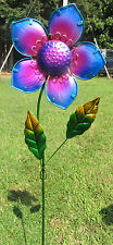 Flower Yard Stake Purple Glass & Metal Lawn/Garden Decor