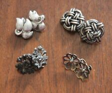Sterling Silver 925 Earring LOT Monet Siam Flower Clip on Abstract Vintage