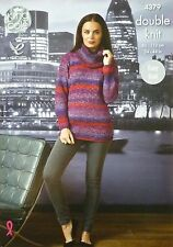 KNITTING PATTERN Ladies Long Sleeve Easy Knit Cowl Neck Jumper DK King Cole 4379