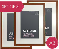 Set of 3 pcs A3 Walnut Photo Frame + Mat Board - A3 Picture Frames Wall Decor