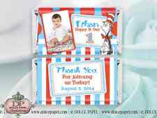 20 Dr. Suess Cat In The Hat Birthday Style Mini Hershey Candy Bar Wrappers