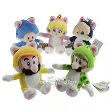 """5PCS Super Mario Bros. Plush Doll Toy CAT Luigi Peach Toad Rosalina 7.5-9.5"""""""