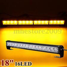 18'' 16LED Amber Yellow Emergency Warning Strobe Flashing Light Bar Lamps 12V