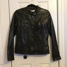 Bernardo Women's Faux Black Leather Jacket Moto Style Size Small