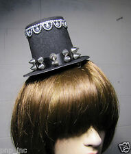 Burlesque Gothic Victorian Steampunk Black Top Hat w/ Silver Spikes and Trim USA