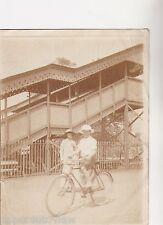 VINTAGE PHOTO PEOPLE WOMAN GLAMOUR BOY RIDING BIKE CYCLING