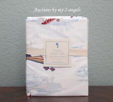 Pottery Barn Kids Tyson Plane Airplane Twin Sheet Set RED/BLUE