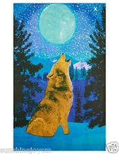 3D Glow in the Dark Wolf Moon Tapestry Wall Hanging Art 60x90 FREE 3-D GLASSES
