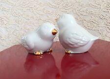 Easter White Bird Salt Pepper Shaker Porcelain Gold Spring Party Holiday