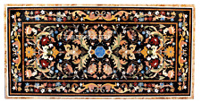 2.5'x5' Rectangle Black Marble Dining Table Real Hakik Inlay Garden Decor H3016