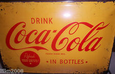 COCA COLA/ COKE YELLOW: EMBOSSED (3D) METAL SIGN, 30X20CM/ 12X8 INCHES
