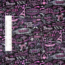 France Fabric - Eiffel Tower French Words Toss Black - Timeless Treasures YARD