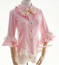 Ladies Victorian Lolita Gothic Barbie Palace Dovetail Embroidery Princess Shirt