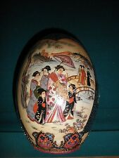 """Large 9""""x6"""" Chinese Egg Hand Painted Porcelain Highly Raised Gold Moriage"""