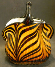 Murano Art Glass Tan & Black Zebra Striped Snap Style Purse Vase Planter Excel