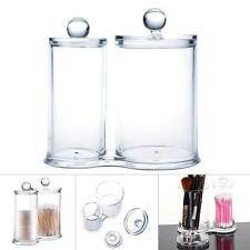 Q-tip Clear Conjoined Acrylic Cottonball Swab Holder Box Organizer Makeup Set US