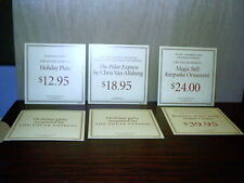 "6 Hallmark Polar Express Price Signs 2004 Plate Bell Book Water Globe 6"" x 6"""
