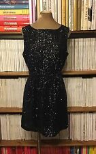 BROADWAY & BROOME Madewell black grey sequin dress UK 12 US 8 fit flare