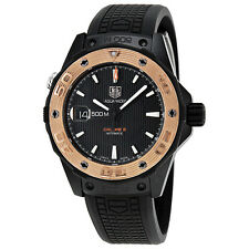 Tag Heuer Aquaracer Automatic Black Dial Rose Gold Bezel Black Titanium Mens