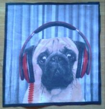 Animal Selfie Pug Dog Fabric / Material Remnant. 8.5 inch x 8 inch.