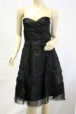 "$400 BCBG BLACK ""SAN65198"" TIERRED LACE STRAPLESS DRESS NWT 0"