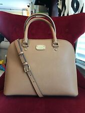 NWT MICHAEL KORS SAFFIANO LEATHER CINDY LARGE DOME SATCHEL BAG IN ACORN