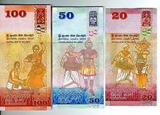 2010 Sri Lanka 20,50 & 100 Rupees 3 Notes Uncirculated