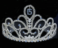 "Crystal Rhinestones Sweet 15 Quinceanera w/Combs.Tiara.3""Tall. Pick Your Color !"