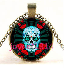 Sugar Flower Skull Cabochon bronze Glass Chain Pendant Necklace TS-4263