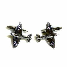 World War Two Plane Cufflink with Engraved Chrome Case (X2PSN248-DCB)
