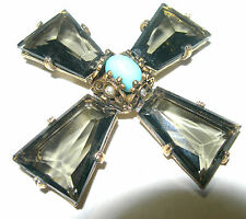 LARGE VINTAGE SIGNED ACCESSOCRAFT NYC KITE RHINESTONE GLASS BROOCH PIN