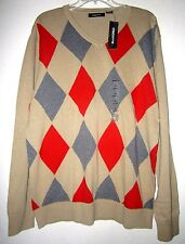 LIZ CLAIBORNE Tan ARGYLE KNIT SOFT V Neck Classic PULLOVER SWEATER  Men XL NWT