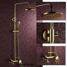 Luxury Polished Brass Gold Wall Mount Rain Shower Faucet Set with Tub Spout B111