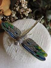 Large Vintage Sterling Silver 925 Marcasite enamel Dragonfly Pin Brooch