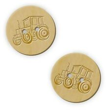 12 x 23mm 'Tractor' Round Wooden Buttons (BT00007777)
