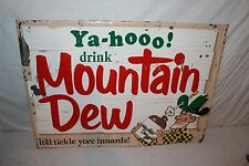 "Rare Vintage 1967 Mountain Dew Soda Pop Gas Station 27"" Embossed Metal Sign"