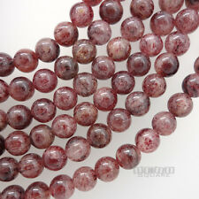 "14.5"" Natural Red Pink Strawberry Quartz Round Beads ap. 8mm #21165"