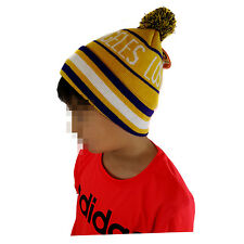 LOS ANGELES KIDS Pom Yellow/Purple Striped Beanie Cuff Skull Cap