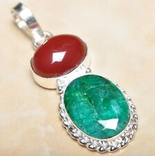 "Handmade Green Emerald Natural Gemstone 925 Sterling Silver Pendant 2"" P08308"
