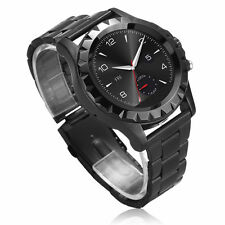 BLACK T2 HD BLUETOOTH SMART ROUND STAINLESS STEEL WRIST WATCH with 3.0MP CAMERA