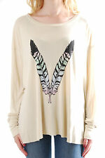 Wildfox Women's Tee Feather Child Size S Colour Beige BCF58