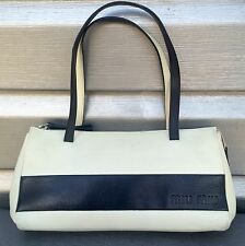 MIU MIU Classic White Navy Blue Two Tone Color Block Leather Baguette Handbag