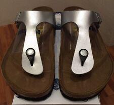 Birkenstock Gizeh 043851 size 36 L5-5.5 R Silver Birko-Flor Thong Sandals