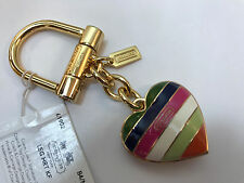 COACH LEGACY STRIPE HEART 61902 Key Fob Charm ~RARE COLLECTIBLE!!!