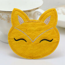 NEW Fabric sticker patch Iron/Sew on Embroidered applique Fox Patterns yellow