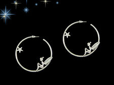 Silvertone Tinker Bell & Hanging Star Hoop Earrings