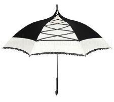 Black + Ivory White CORSET Pagoda Parasol Rain Umbrella ~ Psychobilly Gothic