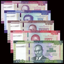 Liberia Set 5 PCS, 5 10 20 50 100 Dollars, 2016, P-NEW, UNC