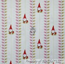 BonEful Fabric FQ Cotton Quilt Cream Red Pink Green GNOME Leaf Stripe Garden VTG